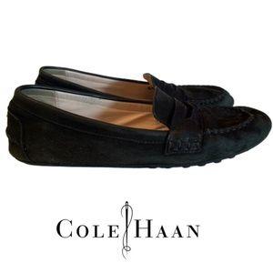 COLE HAAN Black Suede Loafer Moccasins. Size 9